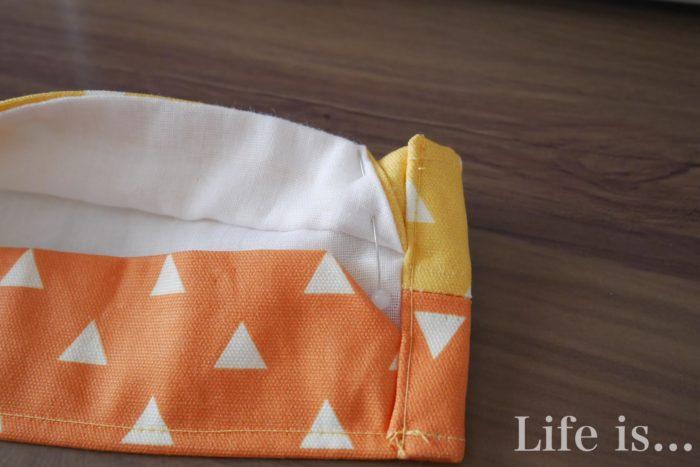 折り上げ立体マスク縫い合わせ